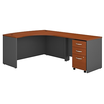 Bush Business Furniture Westfield Right Handed L Shaped Desk with Mobile File Cabinet, Auburn Maple, Installed (SRC007AURSUFA)