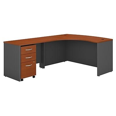 Bush Business Furniture Westfield Left Handed L Shaped Desk with Mobile File Cabinet, Auburn Maple, Installed (SRC007AULSUFA)