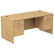 Bush Business Furniture Westfield Desk with two 3/4 Pedestals, Light Oak, Installed (SRC008LOSUFA)