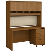 Bush Business Furniture Westfield 60W x 24D Office Desk with Hutch and Mobile File Cabinet, Warm Oak (SRC014WOSU)