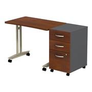 Bush Business Furniture Westfield Adjustable Height Mobile Table with 3 Drawer Mobile Pedestal, Hansen Cherry (SRC027HCSU)