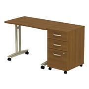 Bush Business Furniture Westfield Adjustable Height Mobile Table with 3 Drawer Mobile Pedestal, Warm Oak (SRC027WOSU)