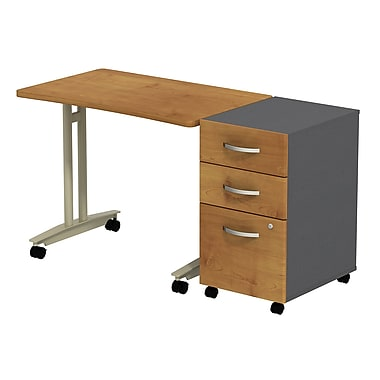 Bush Business Furniture Westfield Adjustable Height Mobile Table with 3 Drawer Mobile Pedestal, Natural Cherry (SRC027NCSU)