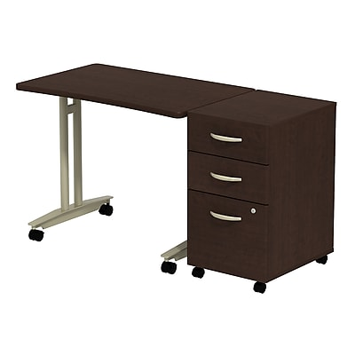 Bush Business Furniture Westfield Adjustable Height Mobile Table with Mobile Pedestal, Mocha Cherry, Installed (SRC027MRSUFA)
