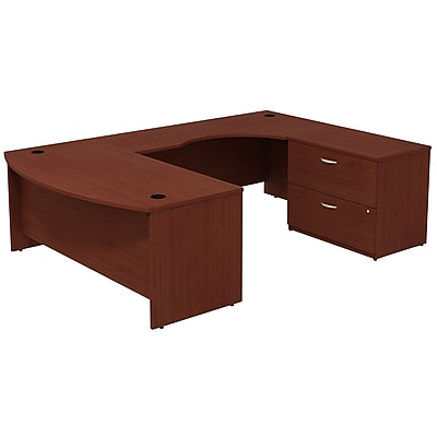 Bush Business Furniture Westfield Bow Front Right Handed U Shaped Desk with File Cabinet, Mahogany, Installed (SRC019MARSUFA)