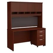 Bush Business Furniture Westfield 60W x 24D Office Desk with Hutch and Mobile File Cabinet, Mahogany (SRC014MASU)