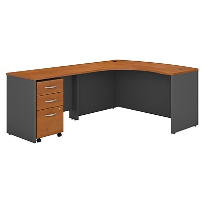 Bush Business Furniture Westfield Left Handed L Shaped Desk with Mobile File Cabinet, Natural Cherry, Installed (SRC007NCLSUFA)