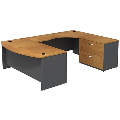 Bush Business Furniture Westfield Bow Front Right Handed U Shaped Desk with File, Natural Cherry, Installed (SRC019NCRSUFA)