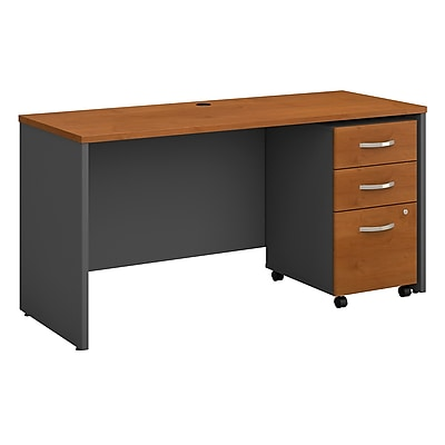 Bush Business Furniture Westfield 60W x 24D Office Desk with Mobile File Cabinet, Natural Cherry, Installed (SRC025NCSUFA)