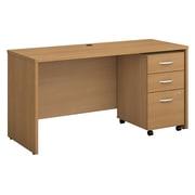 "Bush Business Furniture Westfield 60""W x 24""D Office Desk with Mobile File Cabinet, Light Oak (SRC025LOSU)"