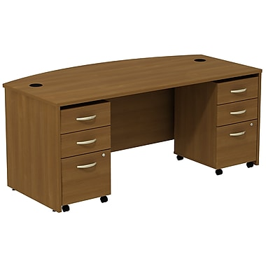 Bush Business Furniture Westfield Bow Front Desk with two 3 Drawer Mobile Pedestals, Warm Oak (SRC013WOSU)