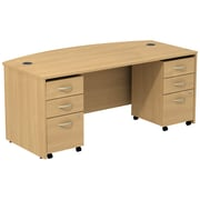 Bush Business Furniture Westfield Bow Front Desk with two 3 Drawer Mobile Pedestals, Light Oak (SRC013LOSU)