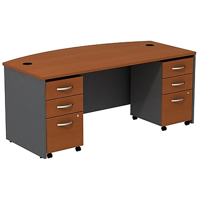 Bush Business Furniture Westfield Bow Front Desk with two 3 Drawer Mobile Pedestals, Auburn Maple, Installed (SRC013AUSUFA)