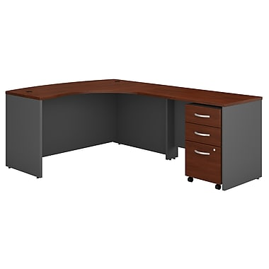 Bush Business Furniture Westfield Right Handed L Shaped Desk with Mobile File Cabinet, Hansen Cherry (SRC007HCRSU)