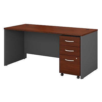 Bush Business Furniture Westfield 66W x 30D Office Desk with Mobile File Cabinet, Hansen Cherry (SRC015HCSU)