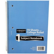 "Sargent Art 70-Sheet 8 x 10.5"" 1 Subject Notebook, College Ruled, 48/Pack (23-1540)"