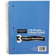 """Sargent Art 120-Sheet 8 x 10.5"""" 3 Subject Notebook, College Ruled, 36/Pack (23-1541)"""