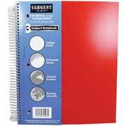 "Sargent Art 150-Sheet 9 x 11"" 3 Subject Poly Notebook, College Ruled, 24/Pack (23-1543)"