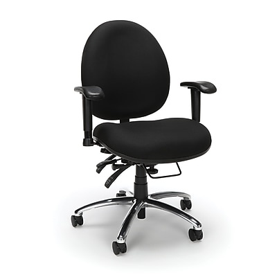 OFM 24 Hour Big and Tall Ergonomic Computer Swivel Task Chair with Arms, Fabric, Black, (247-206)