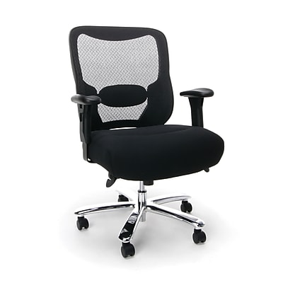 Essentials by OFM Big and Tall Leather Executive Office Chair with Arms, Brown/Bronze (ESS-201-BRN)