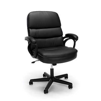 Essentials by OFM Leather Executive Manager's Chair with Arms, Black, (ESS-6025)