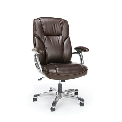 Essentials by OFM High-Back Bonded Leather Executive Chair with Fixed Arms, Brown, (ESS-6030-BRN)