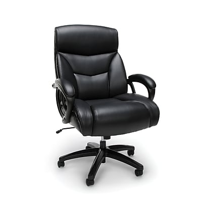 Essentials by OFM ESS-6040 Big and Tall Executive Bonded Leather Chair, Black, (ESS-6040-BLK)