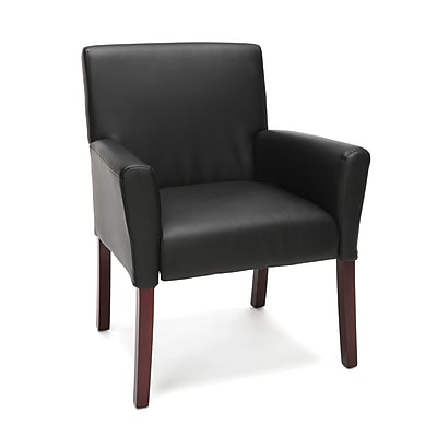 Essentials by OFM Executive Armed Guest Chair with Wooden Legs, Black (ESS-9025-BLK)