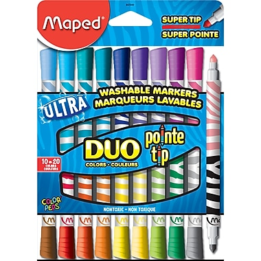 Maped Duo-Colour Washable Felt Tip Markers, 10/Pack