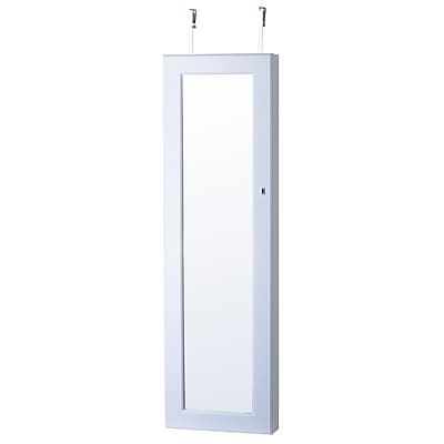 FirsTime Deluxe Mirrored Jewelry Armoire, White (JAOTD3-WHITE)