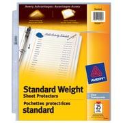 Avery - Protège-feuilles épaisseur standard 75530, loge des feuilles de 8,5 po x 11 po, transparent
