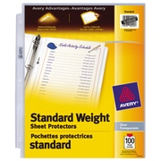 "Avery 75535 Standard Weight Sheet Protectors, Fits 8.5"" x 11"" Sheets, Non-Glare, 100-Pack"
