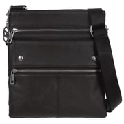 Club Rochelier Leather Crossbody Bag With Front Flap Pocket, Black