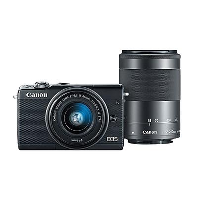 Canon® EOS M100 24MP Mirrorless Digital Camera W/2 Lens, 3x/3.6x, 15 - 45 mm/55 - 200 mm, Black