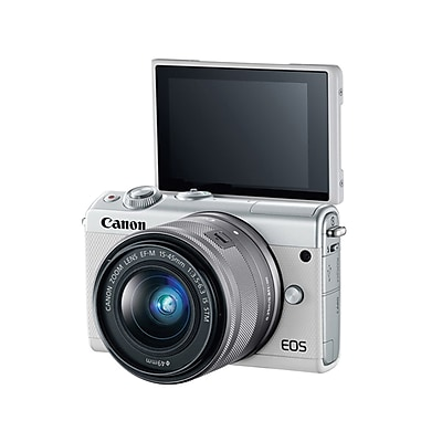 Canon EOS M100 24MP Mirrorless Digital Camera W/Lens, 3x, 15 - 45 mm, White IM11DM467