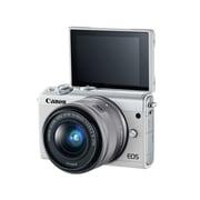 Canon® EOS M100 24MP Mirrorless Digital Camera W/Lens, 3x, 15 - 45 mm, White
