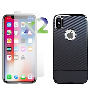 Exian iPhone X TPU Case with Carbon Fiber Back