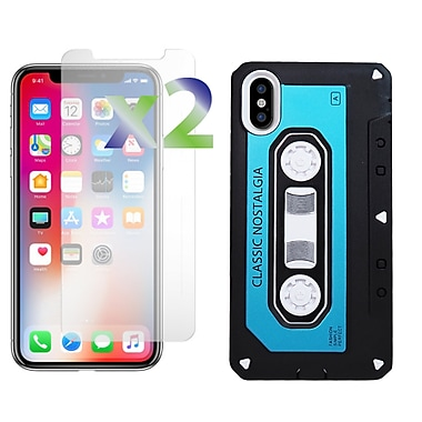 Exian iPhone X Armored Case Classic Cassette Tape