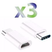 Exian Micro USB to Type-C Adapter, White (CC-082-PK3)
