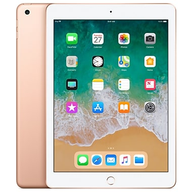 Apple – Tablette iPad 9,7 po, Wi-Fi, puce A10 Fusion, 128 Go, iOS 11, or