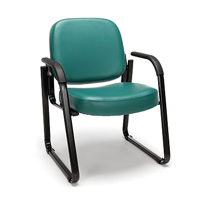 OFM Model 403-VAM Guest and Reception Chair with Arms, Anti-Microbial/Anti-Bacterial Vinyl, Teal, (403-VAM-602)