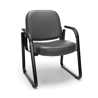 OFM Model 403-VAM Guest and Reception Chair with Arms, Anti-Microbial/Anti-Bacterial Vinyl, Charcoal, (403-VAM-604)