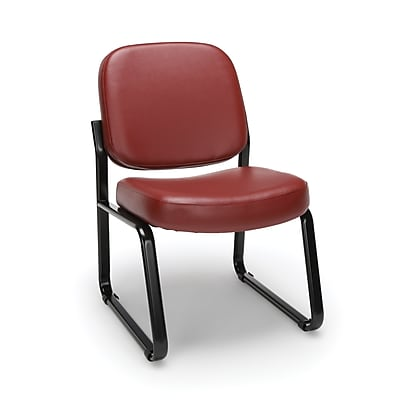 OFM Model 405-VAM Armless Guest and Reception Chair, Anti-Microbial/Anti-Bacterial Vinyl, Wine, (405-VAM-603)