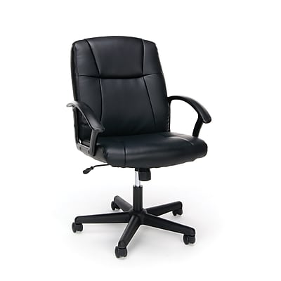 Essentials by OFM Ergonomic Leather Executive Chair with Arms, Black, (ESS-6000)