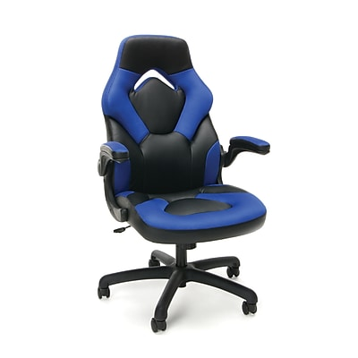 Essentials by OFM Racing Style Leather Gaming Chair, Blue, (ESS-3085-BLU)
