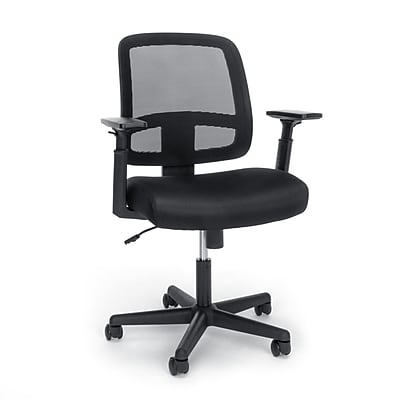 Essentials by OFM Mesh Back Chair with Adjustable Arms, Black, (E3035-BLK)