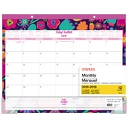 "Staples® 2018/2019 Floral Large Desk Pad, 22"" x 17"", Bilingual (28854-19-CA)"