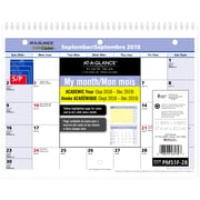 """At-A-Glance® 2018/2019 QuickNotes Recycled Monthly Wall Calendar, 11"""" x 8"""", Bilingual (PM51F-2819)"""