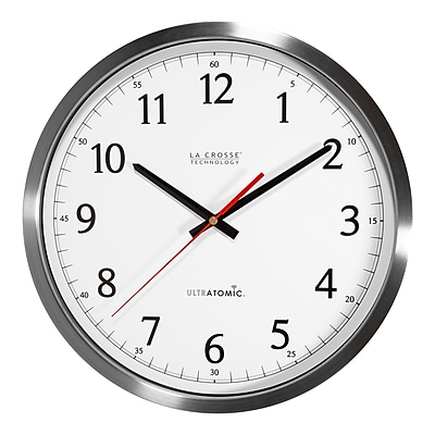 La Crosse Technology 14 Inch UltrAtomic Analog Stainless Steel Wall Clock (404-1235UA-SS)