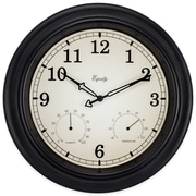 Equity by La Crosse 15.5 inch IN/OUT Black Wall Clock with Thermometer and Hygrometer (27915)